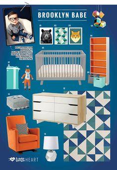 Modern baby nursery, baby boy nursery, geometric decor, mid century modern nursery design, urban nursery, hipster fox decor, nursery ideas