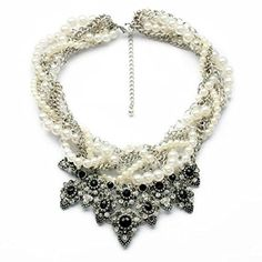 Seraiel New Vintage Rhinestone Crystal Resin Pearl Statement Fashion Necklace by Seraiel -- Awesome products selected by Anna Churchill