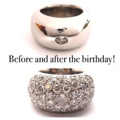 for my friends birthday all her family and friends brought her diamonds that were set into her ring surrounding the original oval diamond she had. a fantastic idea to look at the piece knowing that all the sparkles represent loved ones!