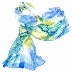 Etole mousseline de soie bleu cachemire premium - Etole/Etole soie - Mes Echarpes