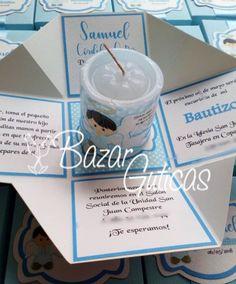 Ideas Bautizo, Angel Baby Shower, Candle Jars, Candles, Baptisms, Exploding Boxes, Communion, Christening, Party Planning