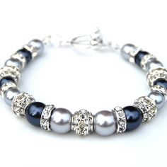 Silver and Gray Pearl Rhinestone Bracelet Bling by AMIdesigns