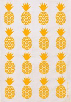 E&W Pineapple Print Tea Towel (Bold Yellow on White)