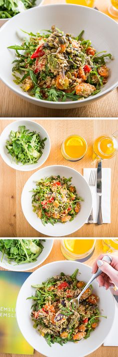 A spring time lunch at Hemsley + Hemsley at Selfridges looks like this: Our Quinoa Roasted Vegetable Salad with Basil Pesto, extra greens on the side and an invigorating Pep-Up Tea. Roasted Vegetable Salad, Roasted Vegetables, Good Food, Yummy Food, Tasty, Hemsley And Hemsley, Whole Food Recipes, Cooking Recipes, Healthy Food