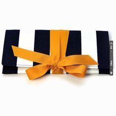 SALE Navy Clutch in canopy stripe with gold bow. The ALEXIS Clutch.. | VIA #WEDDINGPINS.NET