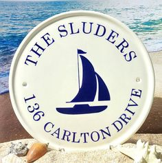 Welcome Plaque with Sailboat / Beach House Plaques / Outdoor House Numbers / Family Name Plaque / Address Plaque / Marker / Nautical / Sign