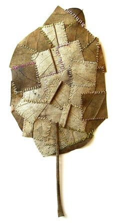 """crossconnectmag: """"Natural Crochet Art from Susanna Bauer Susanna Bauer born in Eichstätt, Germany in work with found natural objects: leaves, stones, pieces of wood…ephemeral things, easily overlooked and use crochet; Art Fibres Textiles, Textile Fiber Art, Patchwork Quilting, Art Au Crochet, Crochet Flower, Embroidered Leaves, Crochet Leaves, Environmental Art, Fabric Art"""
