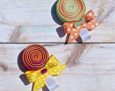 Clip Lollipop pelo, clip del lechón de pelo, clip de pelo caramelo, caramelo de pelo, Candy Clippy, Lollipop Lazo para el cabello, Escultura cinta, Lollipop
