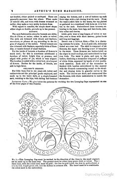 Two lounging caps, Lady's Home Magazine, 1858 - patterns and instructions. Following page has second cap.