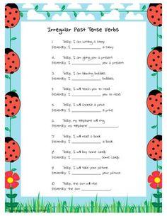 Irregular Past Tense Verb Worksheet