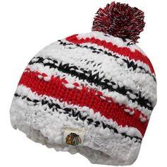 Reebok Chicago Blackhawks Ladies Crocheted Knit Hat - White/Red/Black