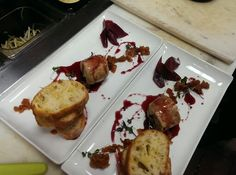 Fois Gras Torchon, Pear Compote, Red Wine Reduction, Marinated Pear, and Sourdough Crostini Pear Compote, Red Wine Reduction, French Toast, Breakfast, Pictures, Food, Dishcloth, Meal, Photos