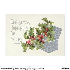 Create your own unique greeting on a Basket card from Zazzle. From birthday, thank you, or funny cards, discover endless possibilities for the perfect card! Vintage Invitations, Invitation Paper, Vintage Christmas Images, Vintage Greeting Cards, Custom Posters, Tis The Season, Custom Framing, Print Design, Basket