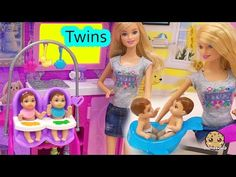 Barbie Babysitting Baby Twins Color Change Water Play Video Babysitter P. Twin Babies, Baby Twins, Girl Dolls, Barbie Dolls, Cookie Swirl C, Baby Unicorn, Disney Frozen Elsa, How To Have Twins, Water Play