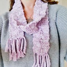 Womens lilac knit silky soft scarf Lilac scarf by OnePurlRow