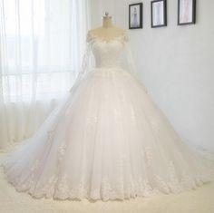 2017 long Train wedding dresses wedding gown White / ivory A line V-neck Bride dress Custom size