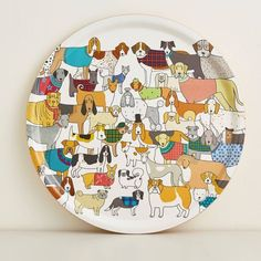 This dog tray is beautifully handcrafted using Birch wood from sustainable forests, printed with Mary Kilvert's Pack of Proud Pooches dog illustration