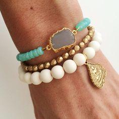 Oceanic Stone Bracelet Gray Moonstone Slice and Aqua by dAnn