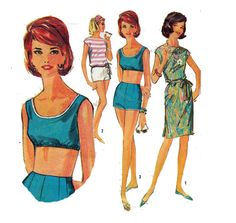 60s BRA TOP Sewing Pattern Short Shorts Cover Up by HoneymoonBus, $8.99