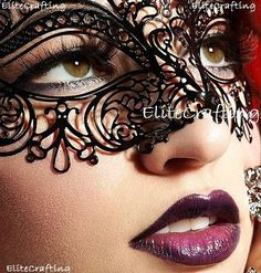 Luxurious Venetian Black Masquerade Mask  Intricate Laser Cut Design Made of Light Metal with Diamonds by Masquerade Fashion -- Read more reviews of the product by visiting the link on the image. Note:It is Affiliate Link to Amazon.