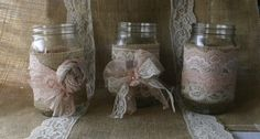 Love this idea!!  Burlap wedding, VINTAGE lace wedding JARs,  wedding table centerpieces, shabby chic, on Etsy, $35.00