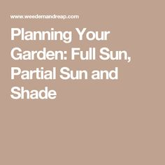 Planning Your Garden: Full Sun, Partial Sun and Shade