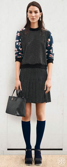 Opt for a sophisticated spin on the casual sweatshirt - with a skirt to match | Tory Burch Pre-Fall 2014