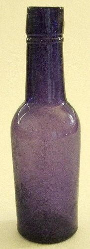 Antique tiny old sample WESTERN WHISKEY bottle deep sun colored purple bottle. Miniature Western Whiskey Cylinder. 1800's.