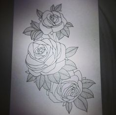 Rough roses tattoo design I drew for a thigh piece