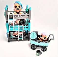 This doll bunk bed set would make a great gift for any doll collector. **DOLLS NOT INCLUDED** Doll House Bunk Bed set Includes: Doll Beds Ladders Doll Stroller Starbucks Miniature Mug Doll Bunk Beds Measurements Stacked: Doll Bunk Beds, Bunk Bed Sets, Doll Furniture, Dollhouse Furniture, Furniture Ads, Furniture Vintage, Wooden Furniture, House Bunk Bed, Girls Dollhouse