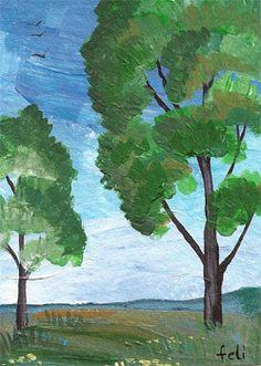 Morning  ACEO ORIGINAL landscape acrylic painting  by FELICITATEM, $5.00