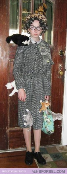 Crazy Cat Lady Halloween costume. Add Mitsy to a dress, and we're away laughing.