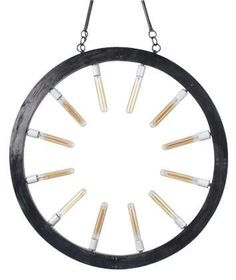 New Chandelier Upcycled Vintage Round Black Hand-Made Light 12-Lights Glass
