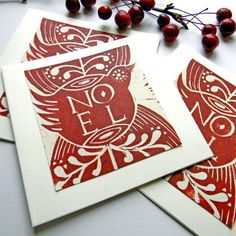 Lino Print Christmas Card