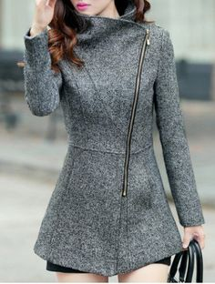 Simple Turn-Down Neck Long Sleeve Zipper Design Women's Coat