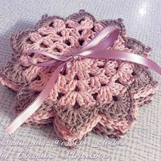 ☕️☕️ Crochet lace coasters in cocoa beige and baby pink, handy work, set of 6,