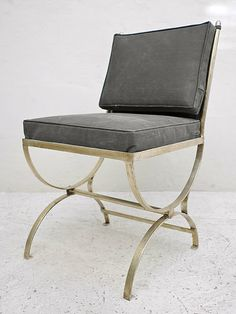 Casamidy - Romana Side Chair, wrought iron with silver leaf finish