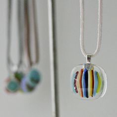 Multi Colour Stripes on Clear Glass - Small Fused Glass Pendant Necklace Fused Glass Jewelry, Fused Glass Art, Dichroic Glass, Resin Jewelry, Glass Pendants, Glass Beads, Yellow Pendants, Sculpture Lessons, Recycled Glass