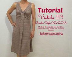 Patrones de vestidos gratis para imprimir en casa drapeado falda evasé Burda Style Moda femenina Primavera Verano