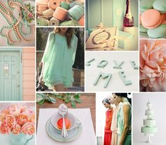 Mint & Coral  Wedding Inspiration Board by At First Blush & Co.