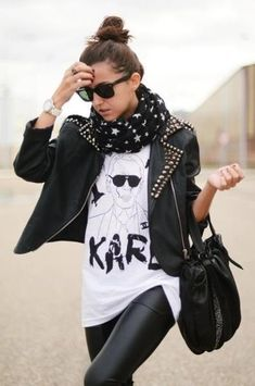 studded jacket Rock Style Fashion Outfit Inspirations
