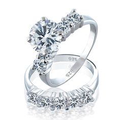 Purchase Round Brilliant Cut Solitaire AAA CZ Engagement Wedding Band Ring Set For Women 925 Sterling Silver from Bling Jewelry Inc on OpenSky. Share and compare all Jewelry. Silver Wedding Rings, Bridal Rings, Wedding Jewelry, Bling Jewelry, Jewelry Rings, Jewlery, Wedding Rings Simple, Wedding Shoes, Wedding Favors