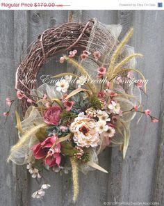 SALE Valentines Wreath Spring Wreath Easter by NewEnglandWreath
