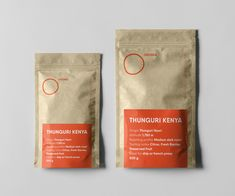 Packaging for OROMIA coffee – minimalist typography-driven layout, strong orange accent colour, crafty materials. Design by LET'S PANDA, Vancouver Coffee Packaging, Accent Colors, Packaging Design, Vancouver, Panda, Minimalist, Typography, Branding, Strong