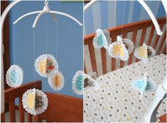 DIY fabric doily mobile. Clever!
