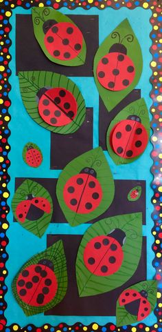 """Make small leaves & tiny beetles. Mix & paint their own variety of green hue, leaves (9""""x12""""). Painted symmetrical line work."""