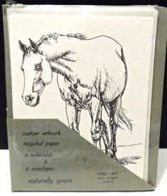 $11.89/Recycled Paper set of 8/blank NoteCards & Envelopes w/ Horse/ equestrian Custom Artwork by Oregon, USA artist Caly Garris   ~~see over 600 items in 29 categories of merchandise in my store. I do ship globally www.shellyssweetfinds.com  #Equestrian #horselovers #horseloversgift #notecards #horsenotecards #equestriannotecards