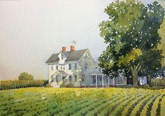 """On Dover Road by Richard Sneary Watercolor ~ 7"""" x 10"""":"""