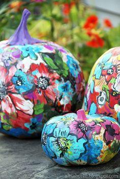 Painted pumpkins by Alisa Burke Pumpkin Art, Pumpkin Crafts, Pumpkin Carving, Pumpkin Ideas, Pumpkin Painting, Fall Pumpkins, Halloween Pumpkins, Halloween Crafts, Halloween Ideas