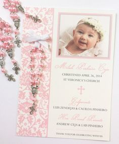 This listing is for custom designed 5 by 7 Baptism favor cards with rosary favors attached. Customize your cards with your childs photo, and Christening Party, Christening Invitations, Baptism Favors, Baptism Party, Baptism Cakes, Baptism Ideas, Baptism Decorations, Baby Girl Baptism, Baby Shower